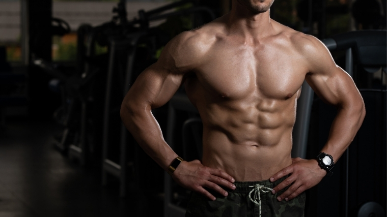 Man flexing abs