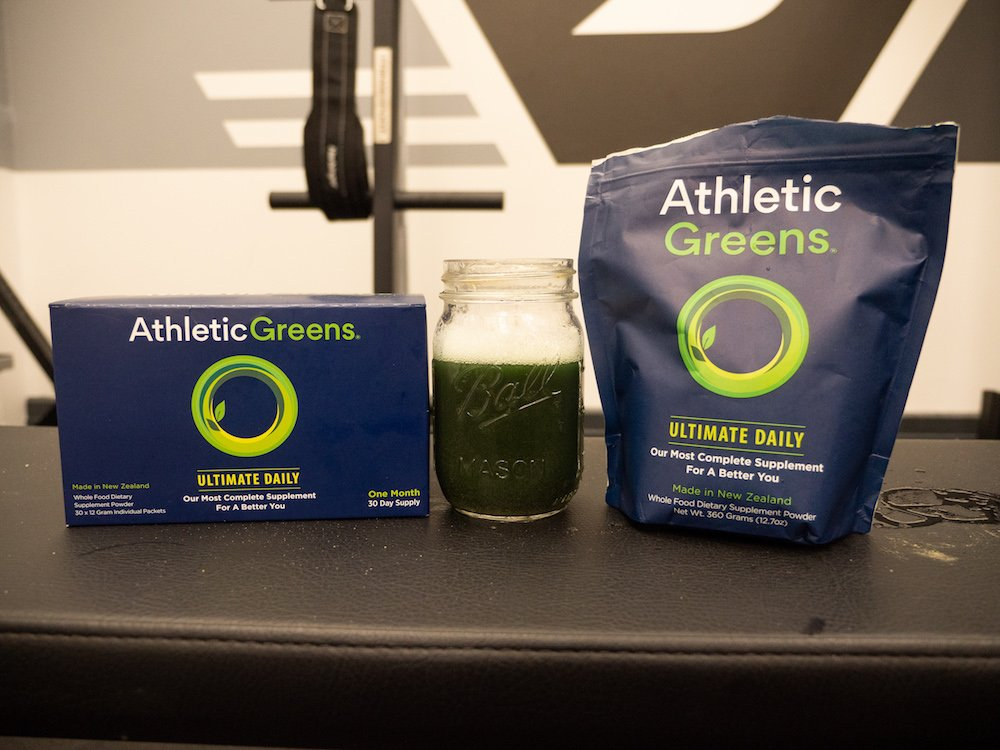 Athletic Greens packets and bag