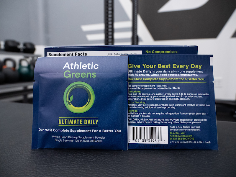 Athletic Greens packets pouches