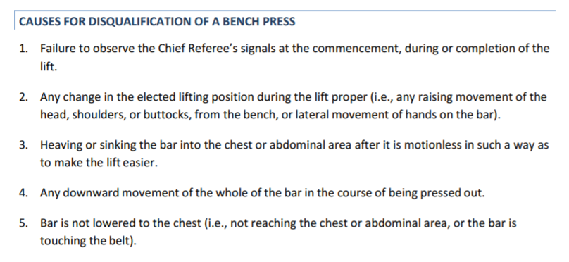 Bench Press Rules