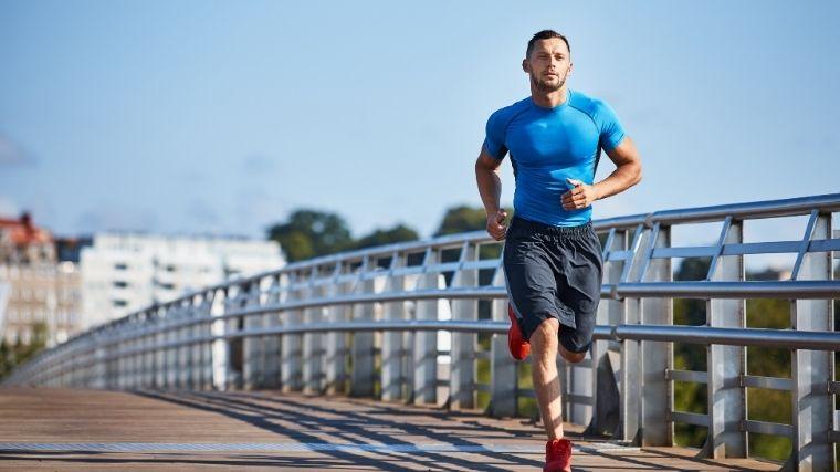 Man running on pier