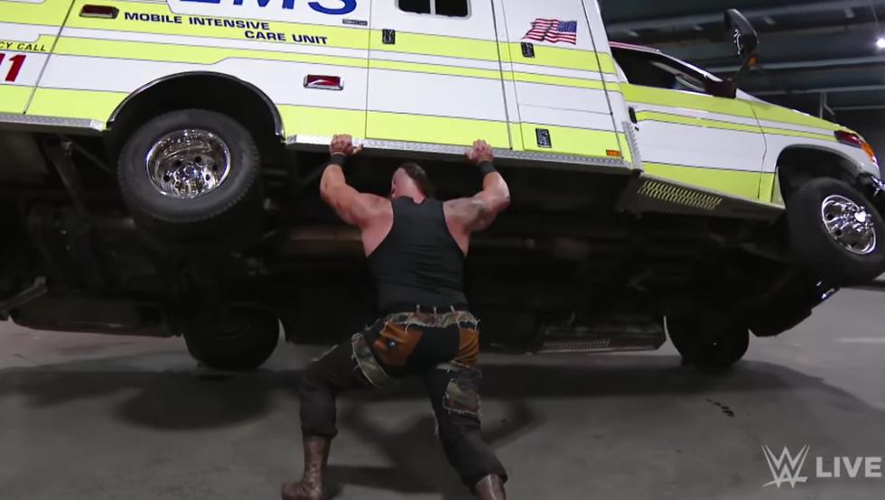 Wwe Wrestler Braun Strowman Flips An Ambulance Is That