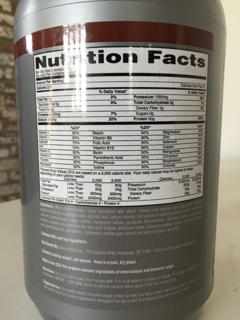 Isopure Low Carb Protein Powder Nutrition Facts