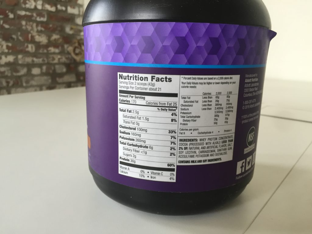 EAS 100% Whey Nutrition Info