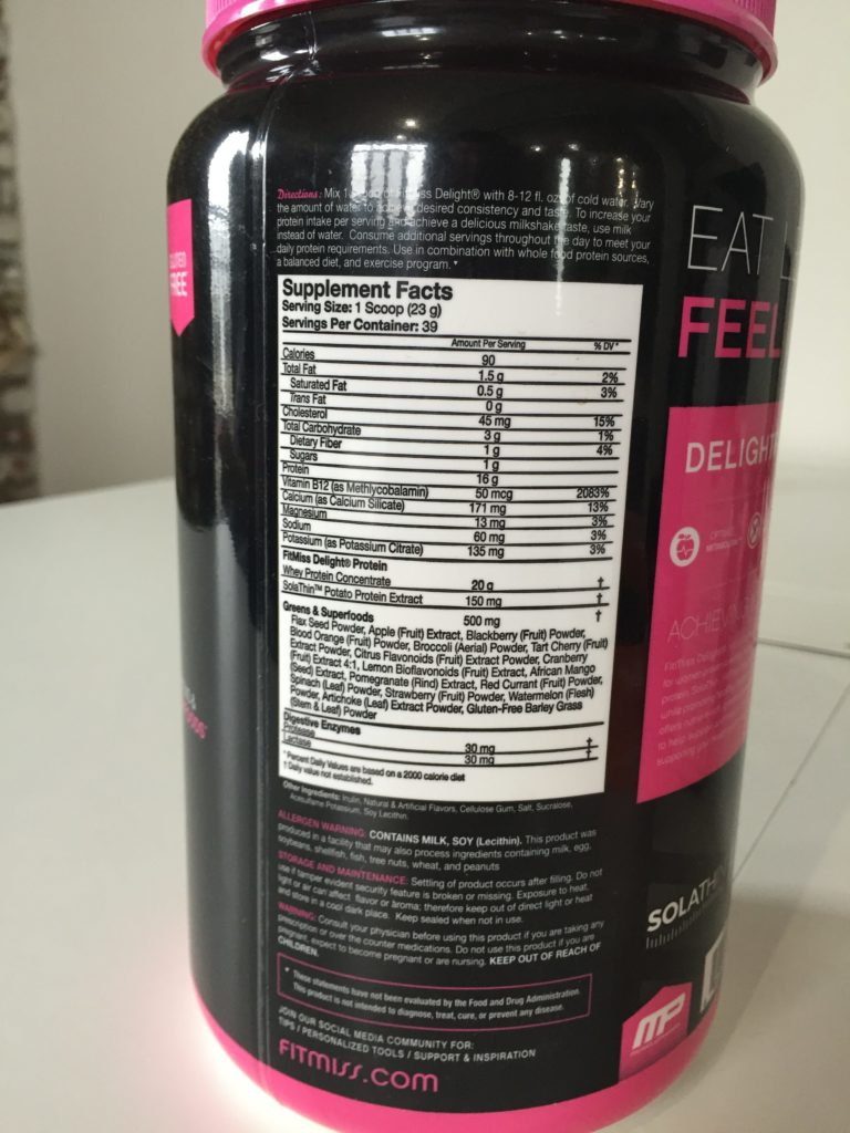 FitMiss Delight Protein Shake Ingredients
