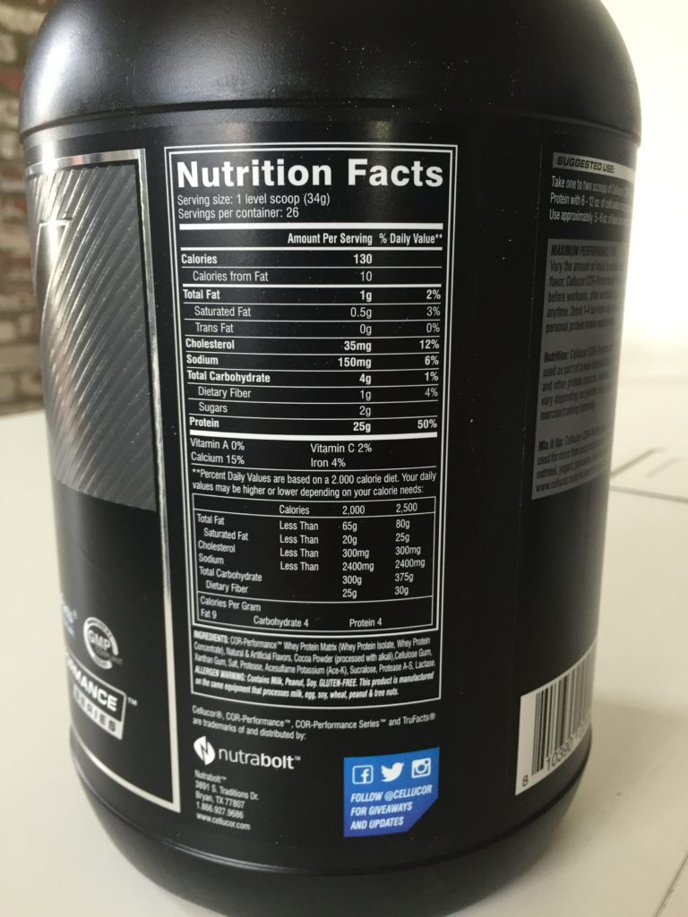 Cellucor Cor-Performance Whey Nutrition