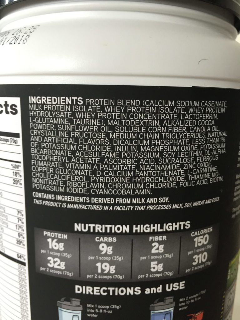 Muscle Milk Ingredients