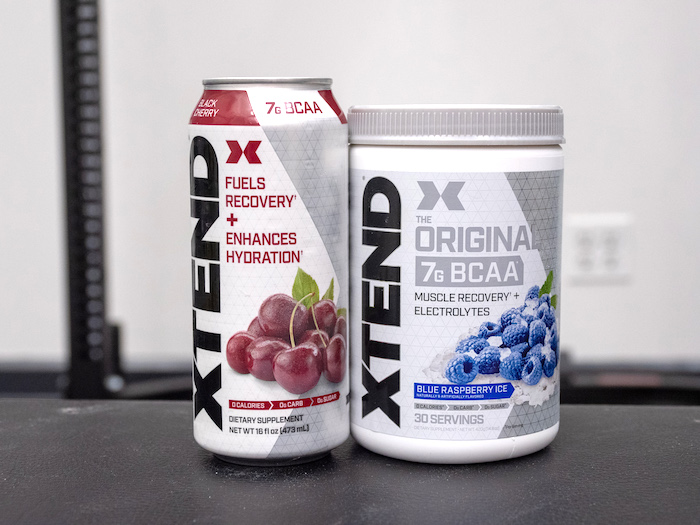 Xtend BCAA tub and can