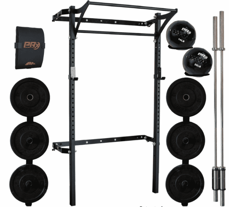 Rack, plates, and barbell home gym example