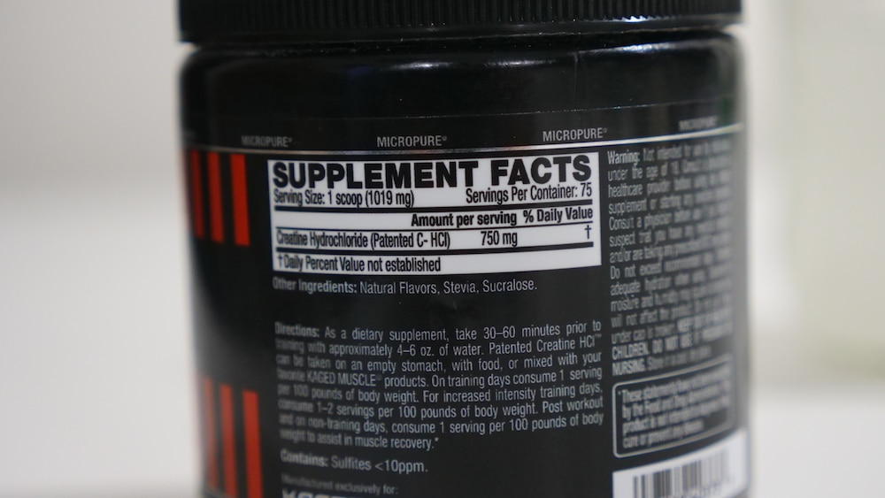 KAGED MUSCLE HCl Creatine Ingredients