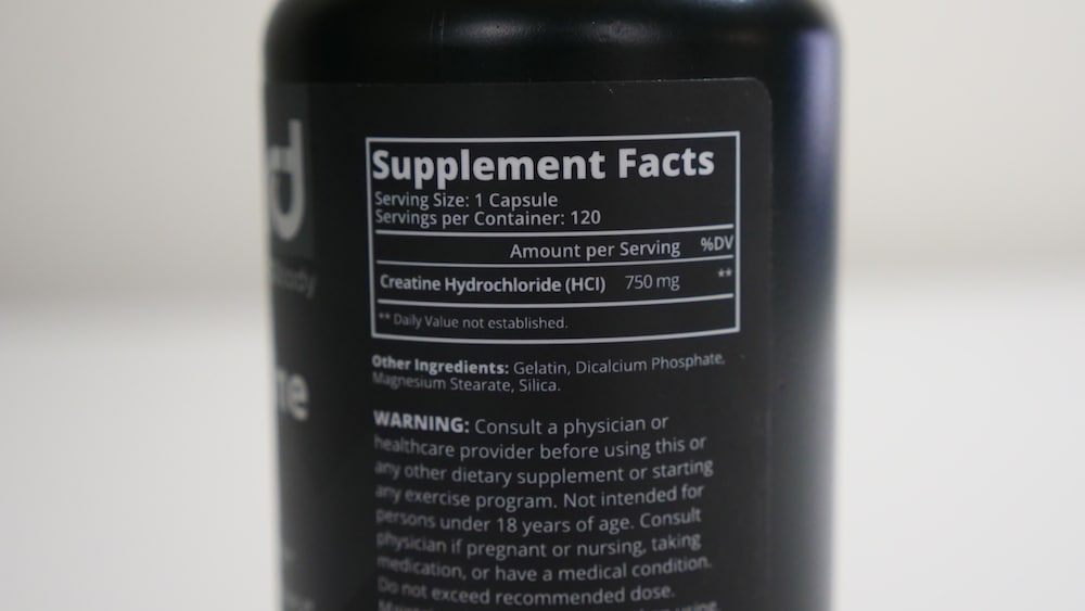 R+D Body CRE HD Creatine HCl Ingredients