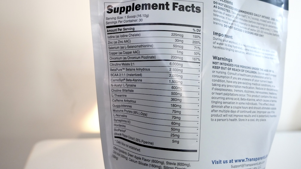 Transparent Labs LEAN Ingredients