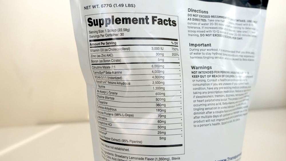 Transparent Labs BULK Pre Workout Ingredients