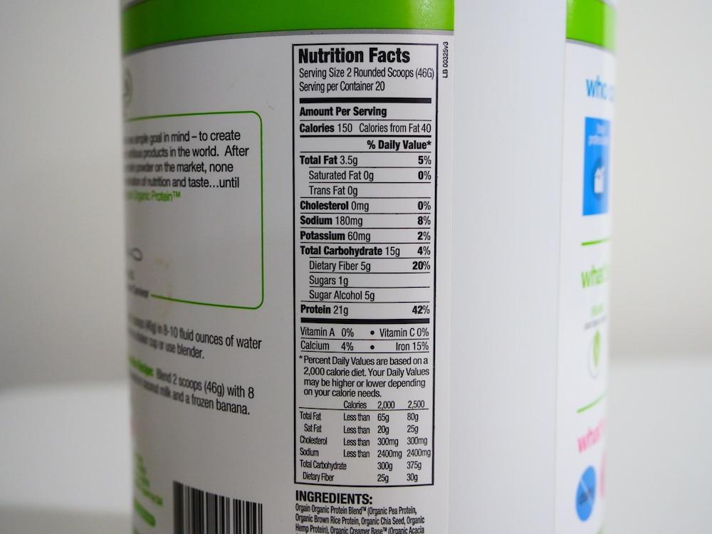 Orgain Organic Plant Based Protein Powder Ingredients