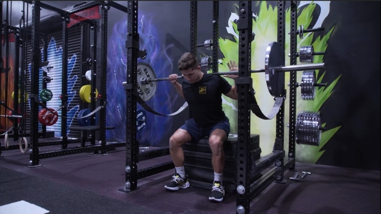 Box squat lowering phase