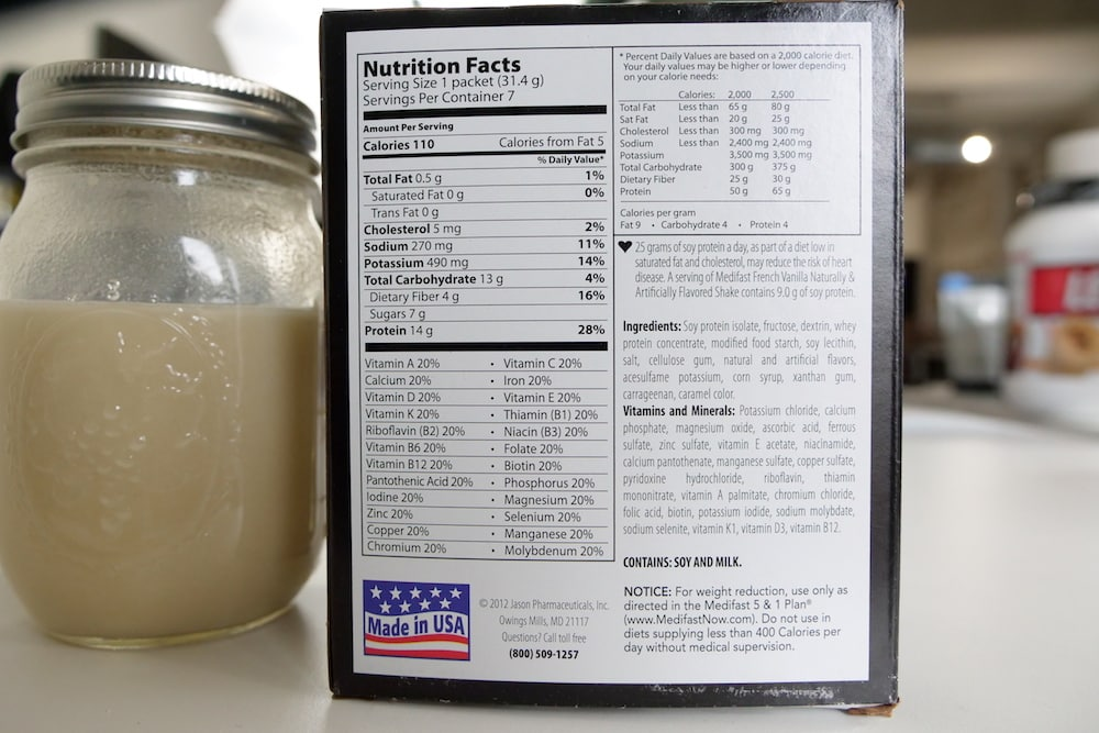 Medifast Meal Replacement Shake Ingredients
