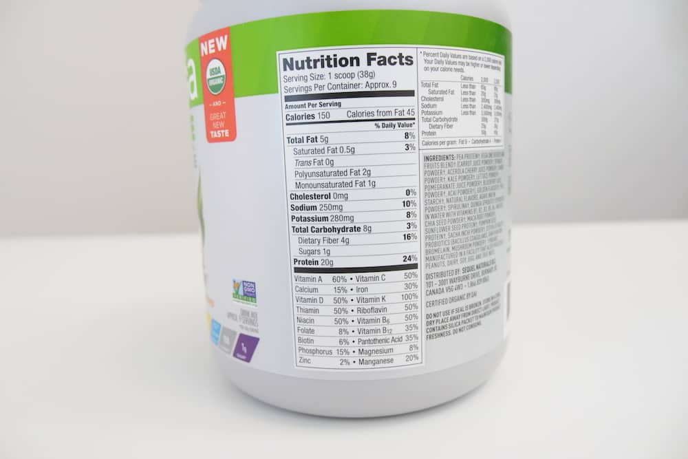 Vega One All In One Shake Nutrition and Ingredients