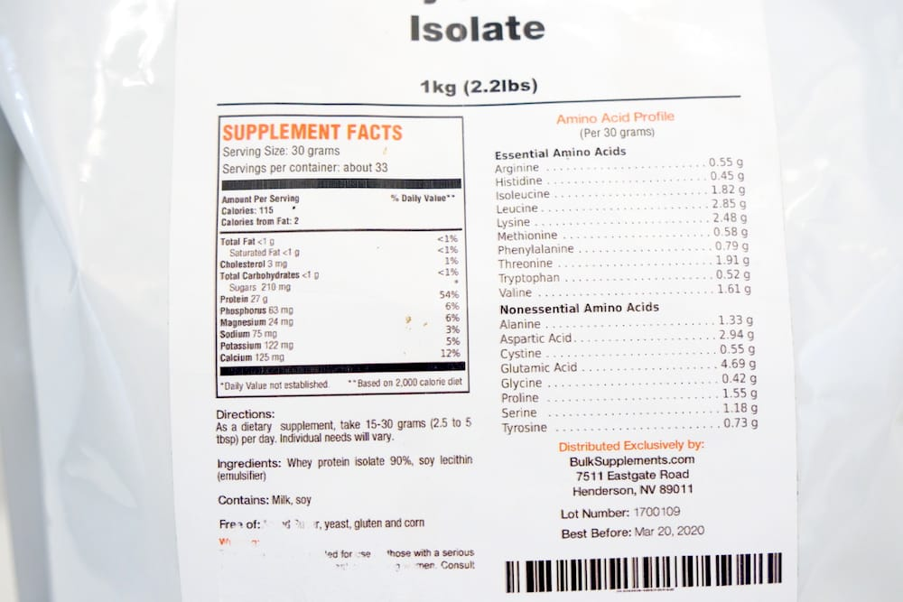 A whey isolate from BulkSupplements