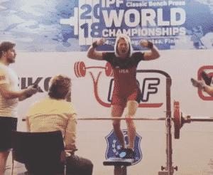 Jen Thompson 144kg bench press