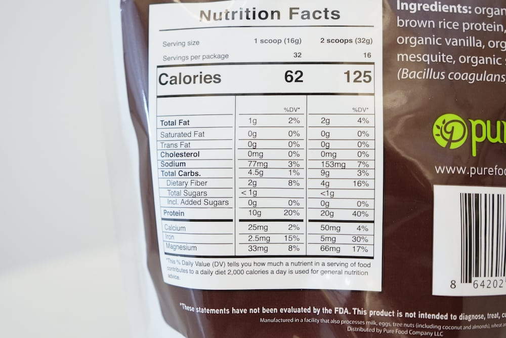 Pure Food Plant Based Protein Nutrition
