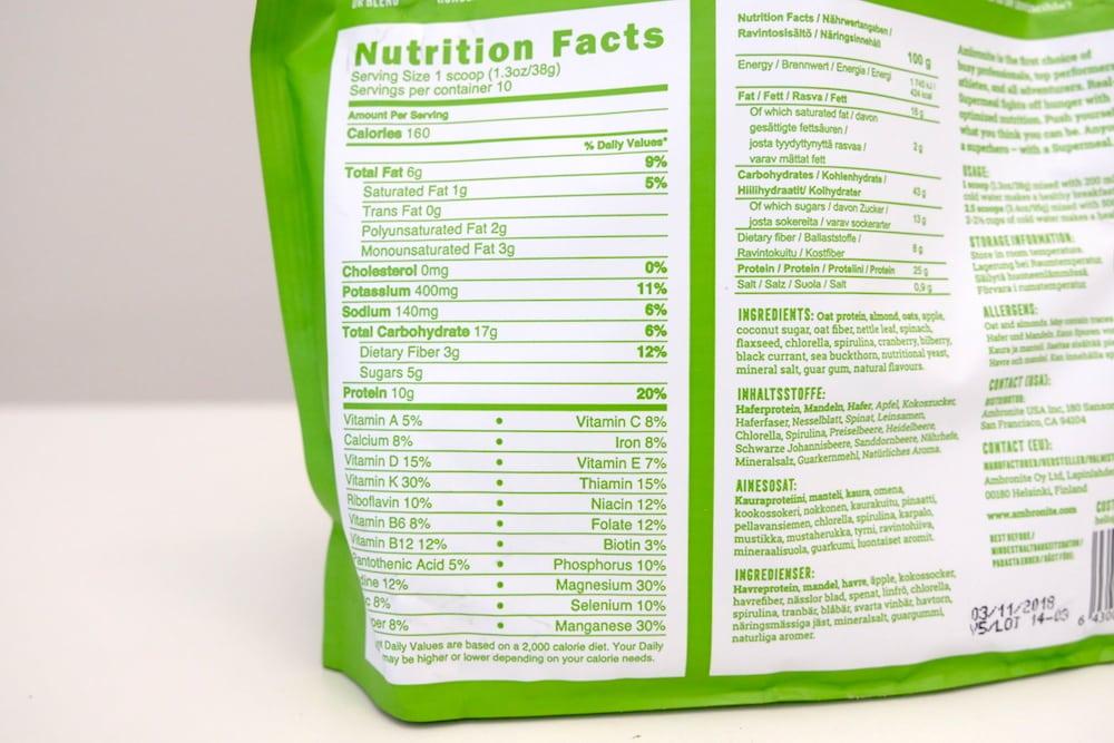 Ambronite's ingredients label