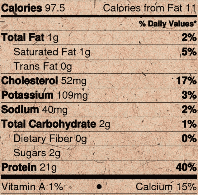 Nutrition label for Raw Grass Fed Whey