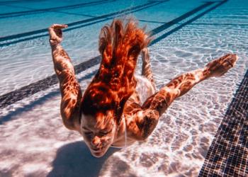 An athlete swimming