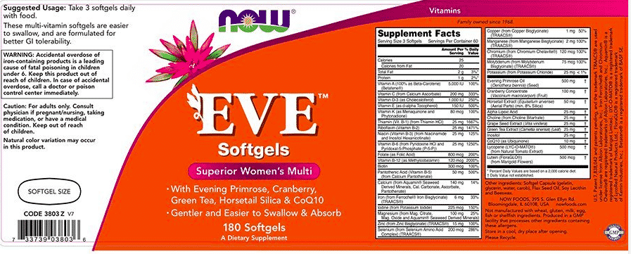 The label for Eve women's multi-vitamin
