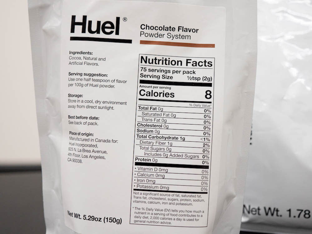 Huel's chocolate flavoring