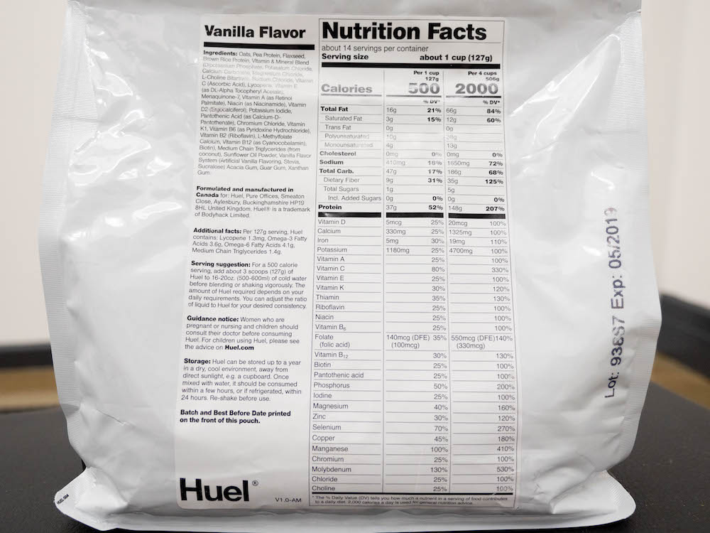 Nutrition in a meal replacement