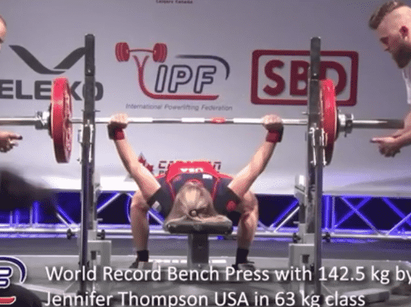Jen Thompson 63kg Benches 142 5kg For New World Record Wins 10th Championship Barbend