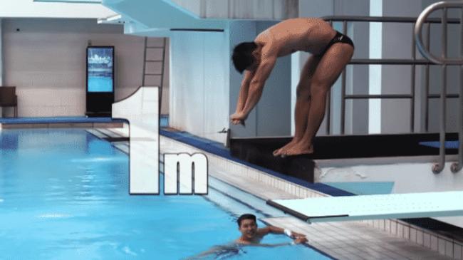 Lu Xiaojun Tries Olympic Diving