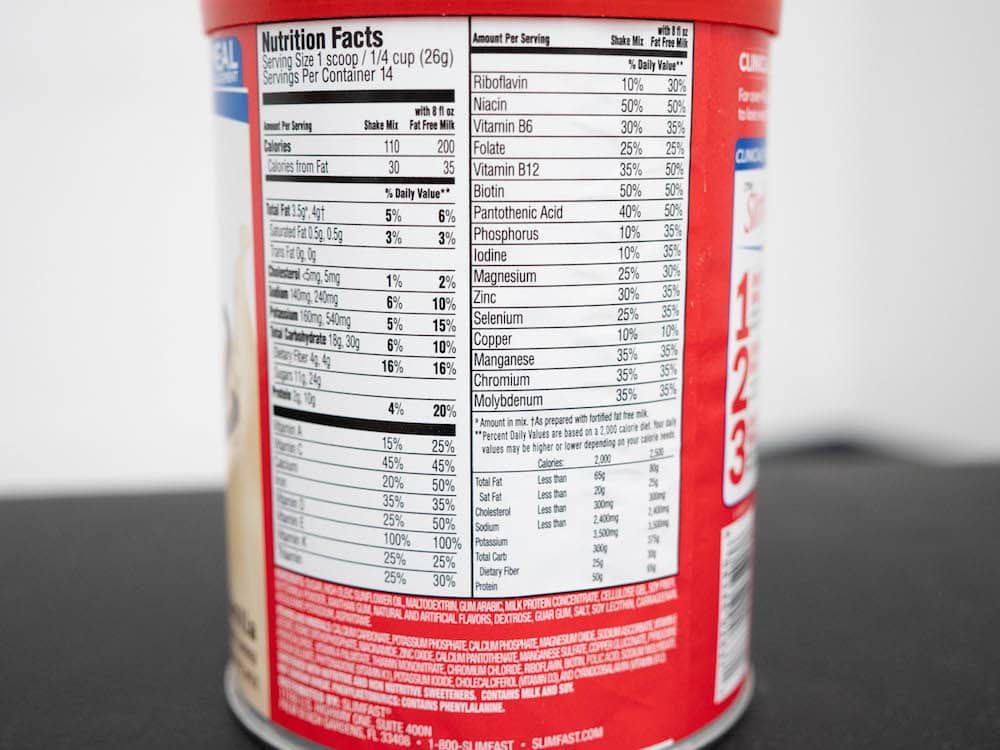 Nutrition label for SlimFast