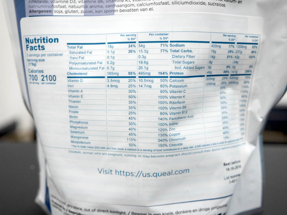 Nutrition label for Queal