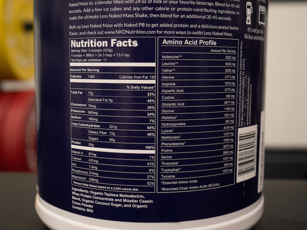Less Naked Mass Ingredients