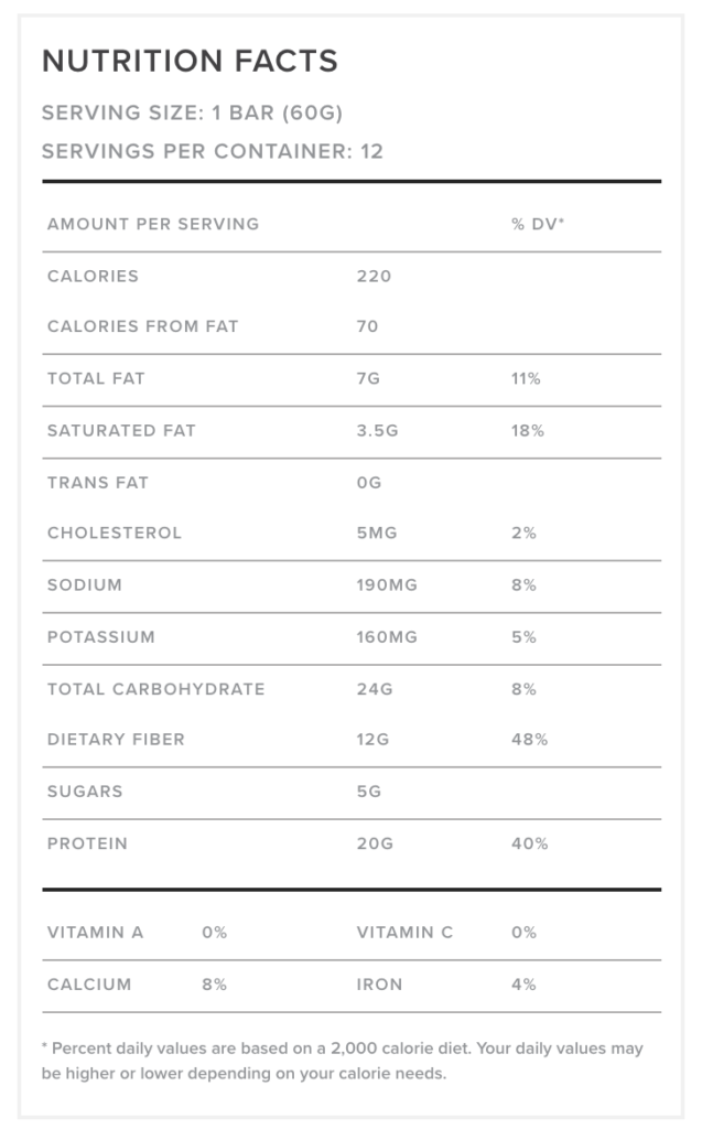 FitJoy Chocolate Peanut Butter Nutrition Label