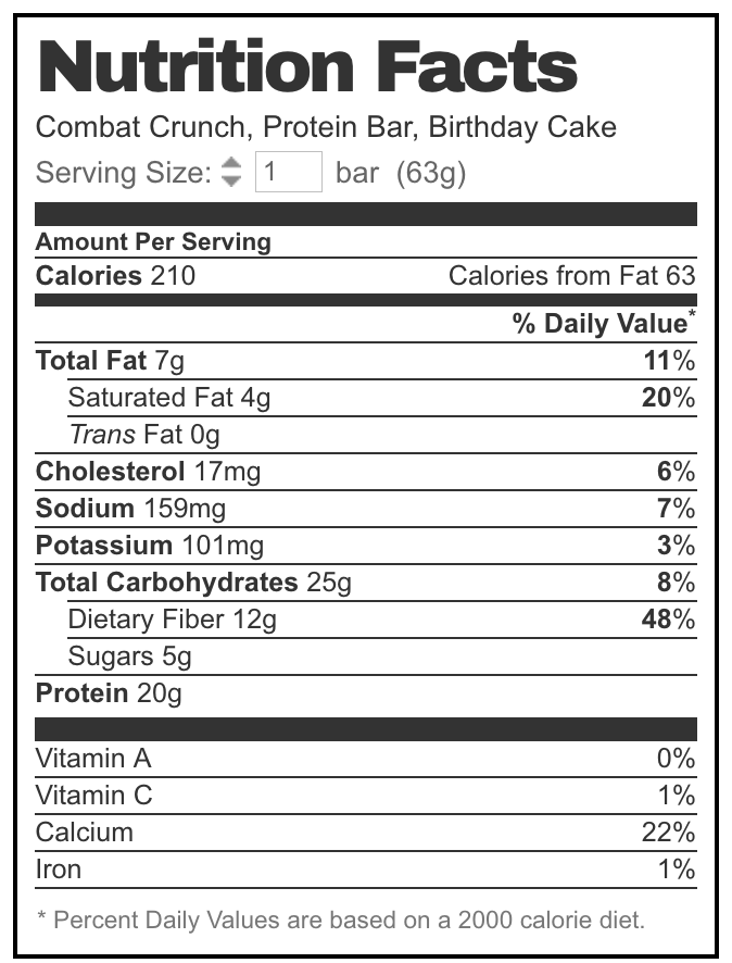 Combat Crunch Birthday Cake Nutrition Label