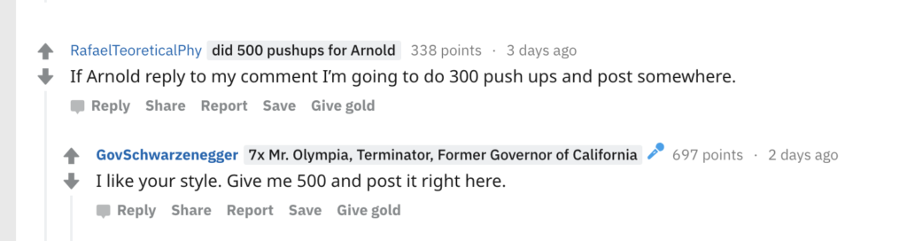Arnold Schwarzenegger Challenges Reddit User to 500 Push-Up