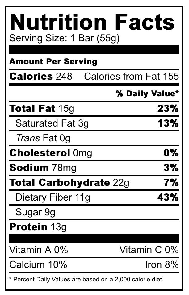 The Bar Shack Nutrition Label