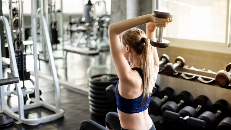woman doing overhead extension