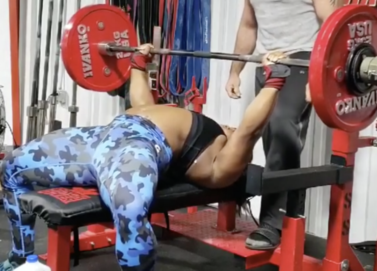 Chakera Holcomb Bench Presses 292 lbs for 8 reps