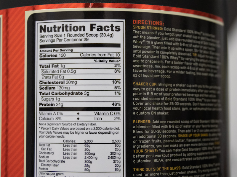 optimum nutrition info