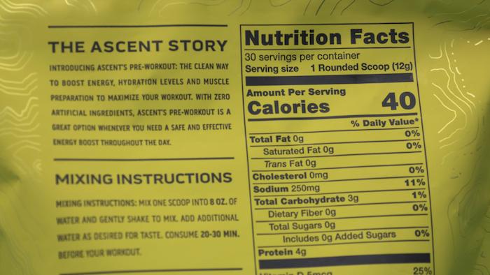 ascent pre workout nutrition