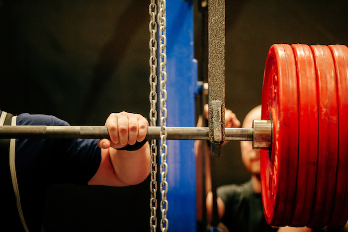 hand on barbell