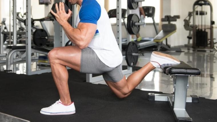 Man doing Bulgarian split squat