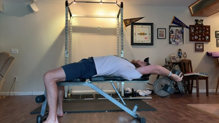 Dumbbell Pullover Lowering Phase