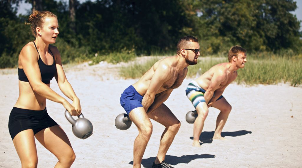 Kettlebell Swing Beach Workout
