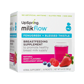 UpSpring Baby Milkflow Fenugreek and Blessed Thistle Powder Berry Drink Mix