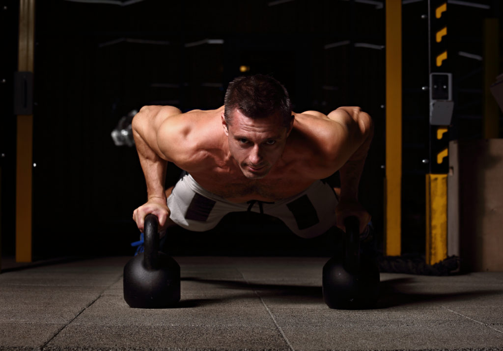 Kettlebell push-up man