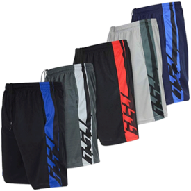 Real Essentials Men's Active Athletic Performance Shorts with Pockets - 5 Pack